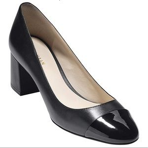 Cole Haan leather and patent Cap Toe Pump